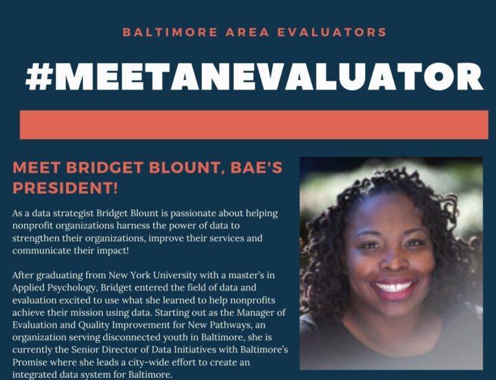 Image card for #MeetAnEvaluator profile of BAE President Bridget Blount.