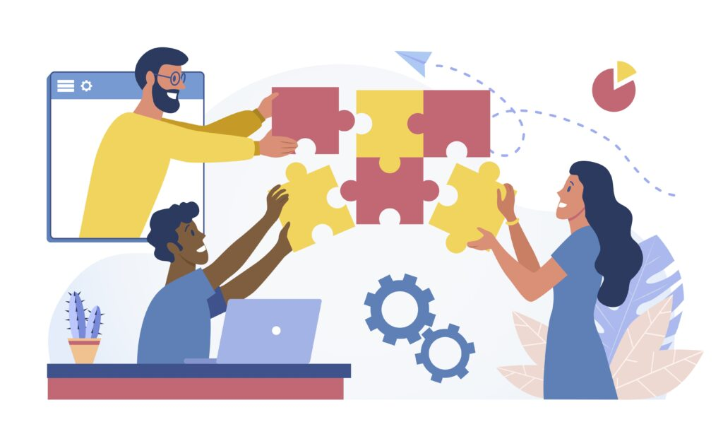 Illustration of three people with different skin tones, seen in an office type setting, putting together a puzzle as a symbol of teamwork.